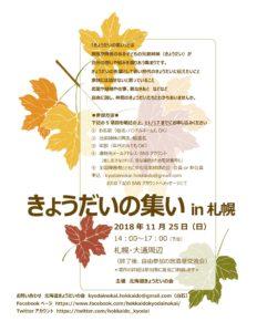 きょうだいの集いin札幌2018年11月25日のチラシ